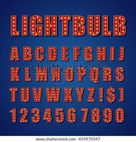 Retro Lightbulb Alphabet Vector Font Type letters - stock vector
