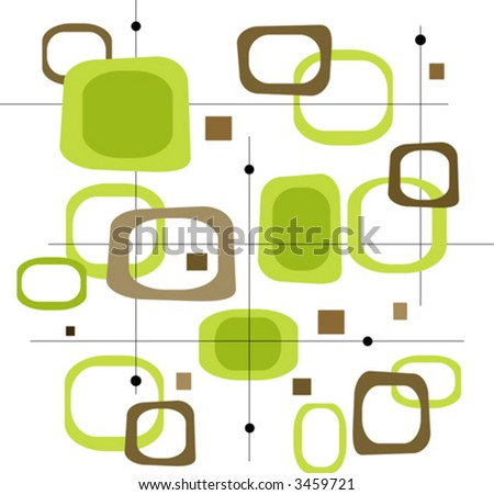 Retro Lime Green and Brown Squares (Vector) Spot illustration of stylish, retro green and brown squares. Easy-edit layered vector file--No transparencies or strokes! - stock vector
