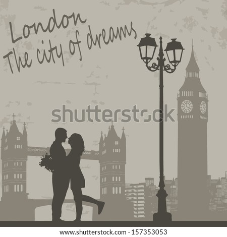 Retro London grunge poster with lovers and city scape, vector illustration - stock vector