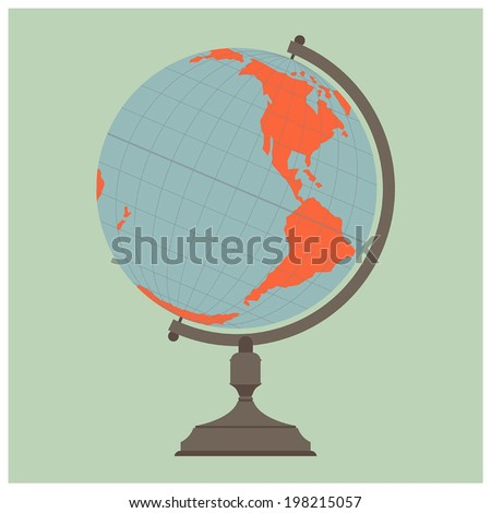Retro looking globe with western hemisphere on  plain color background - stock vector
