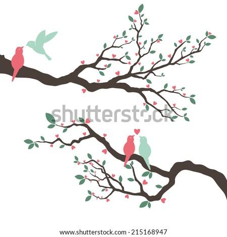 Retro Love Bird Wedding Invitation- Illustration - stock vector