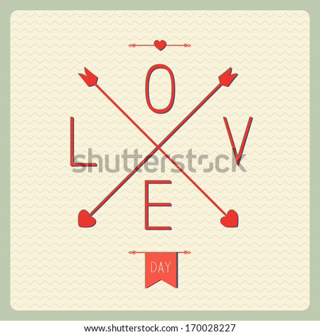 Retro love card with heart and arrows - stock vector