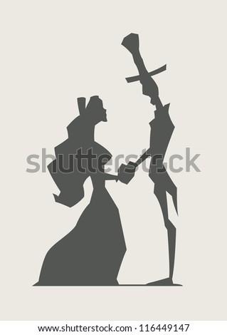 retro loving couple hold heart vector illustration - stock vector