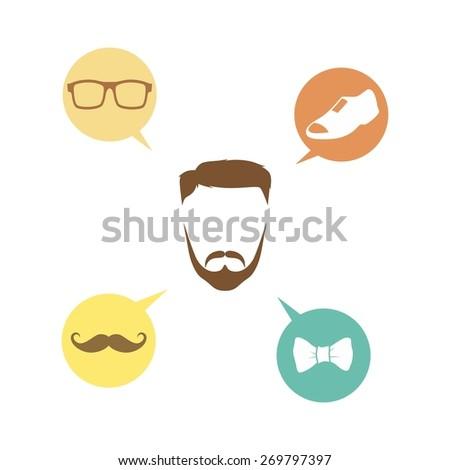 retro man - geek hipster - stock vector