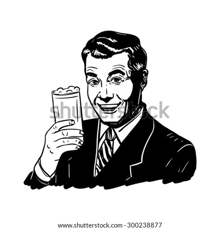 Retro man with a glass of beer in hand, vector illustration. - stock vector