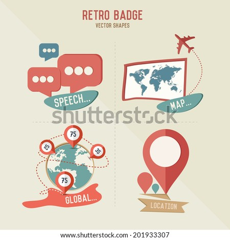 Retro map & business icons,vector - stock vector