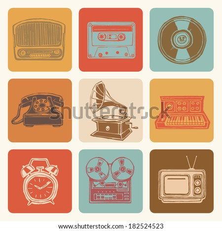 Retro media icons drawings set - stock vector