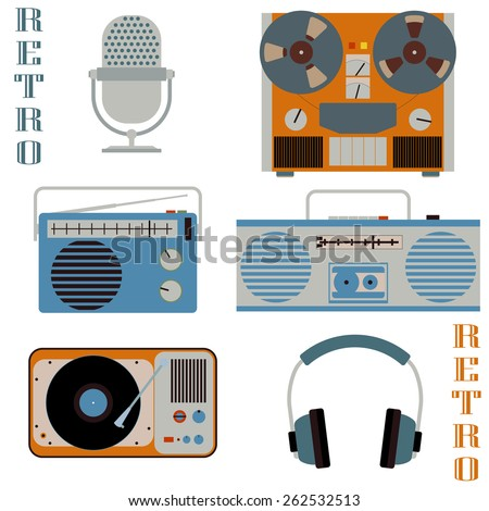 Retro media technology icons. Microphone, headphones, radio, gramophone, reel-to-reel tape recorder. Vector flat style elements - stock vector