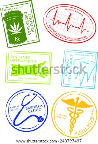 Retro Medical Passport Stamps Vector Illustration - stock vector