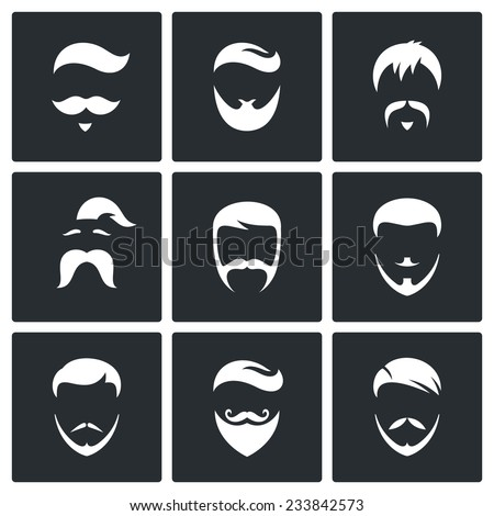 Retro Mens Hair Styles Vector Isolated Flat Icons Set - stock vector