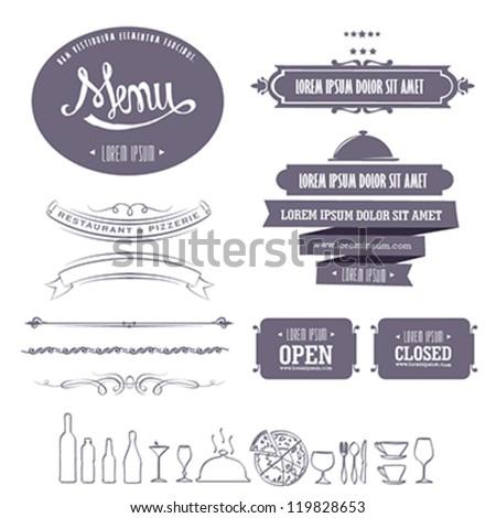 Retro menu design element set for restaurant and pizza shop - stock vector