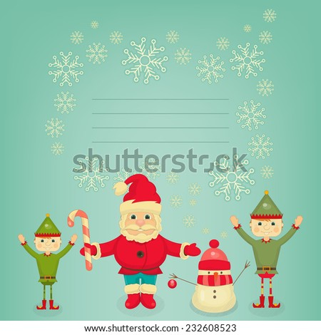 Retro Merry Christmas and New Years Card with Santa Claus, Christmas Elf and Snowman. Place for Text. Vector illustration. - stock vector
