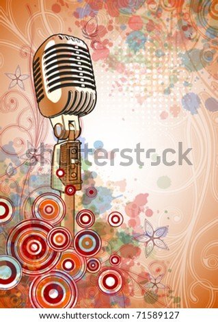 Retro Microphone & Floral calligraphy ornament - a stylized orchid & color paint background. Eps10 - stock vector