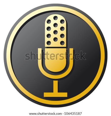 retro microphone icon (microphone Icon, classic microphone symbol) - stock vector