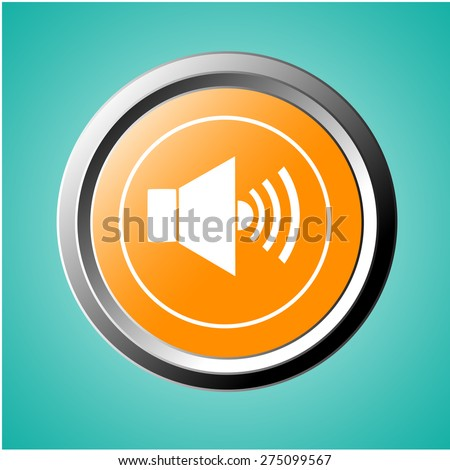 Retro microphone icon on orange button - stock vector
