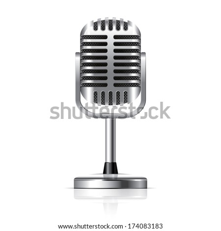 Retro microphone isolated on white photo-realistic vector illustration - stock vector