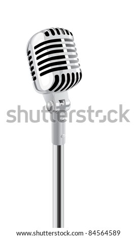 Retro Microphone On Stand. (in the gallery also available XXL jpeg image made from this vector) - stock vector
