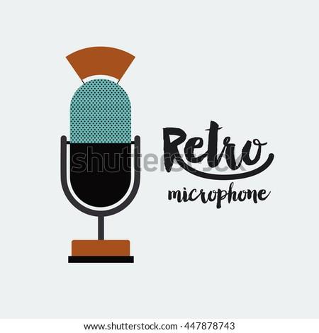 retro microphone poster isolated icon design - stock vector