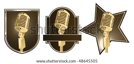 retro microphone signs - stock vector