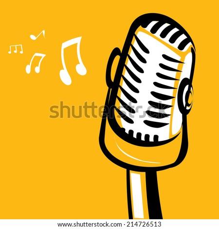 retro microphone silhouette on orange background . vector illustration. vector music background - stock vector