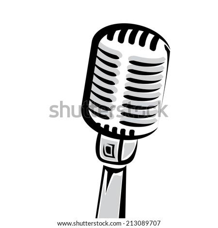 retro microphone silhouette vector illustration - stock vector
