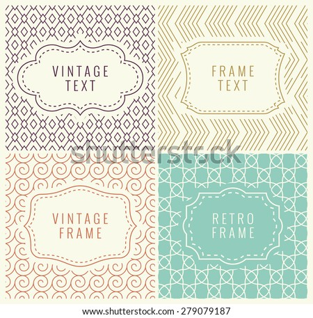 Retro Mono Line Frames with place for Text. Vector Design Template, Labels, Badges on Seamless Geometric Patterns. Minimal Textures - stock vector