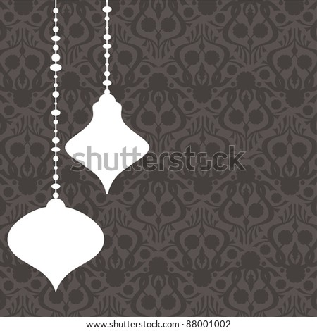 retro monochrome christmas pattern background with hanging decorations - stock vector