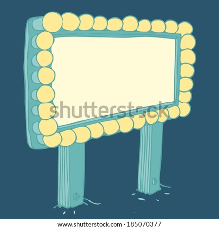Retro motel (billboard). vector illustration, hand drawn - stock vector