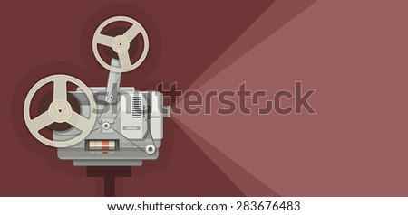 Retro movie projector for films showing. Eps10 vector illustration - stock vector