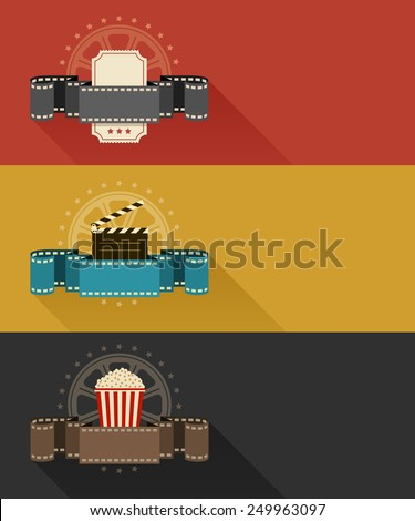 Retro movie theater posters flat design. Eps10 vector illustration. Isolated on white background - stock vector