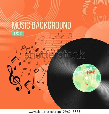 Retro Music Background With Vinyl Record EPS 10 - stock vector