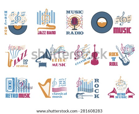 Retro music classical jazz and rock flat emblems set isolated vector illustration  - stock vector