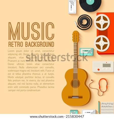 retro music stnudio equipment background concept. Vector illustration desig - stock vector