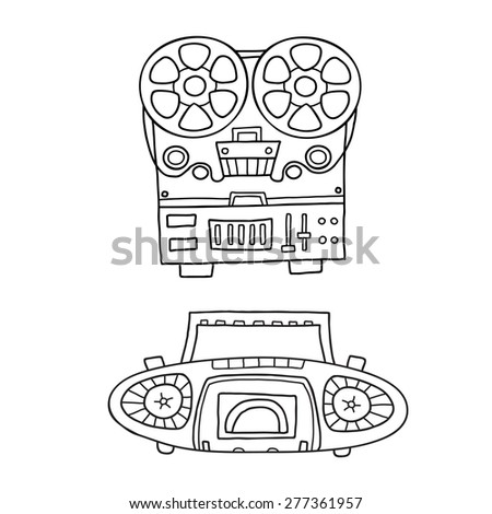 Retro musical equipment. A collection of stylish vector images of old tape recorders - stock vector