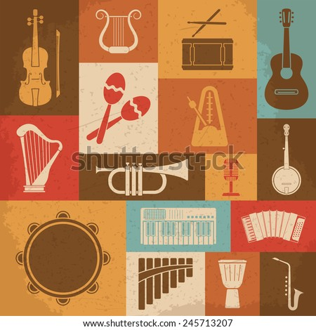 Retro Musical Instruments Icons. Vector illustration - stock vector
