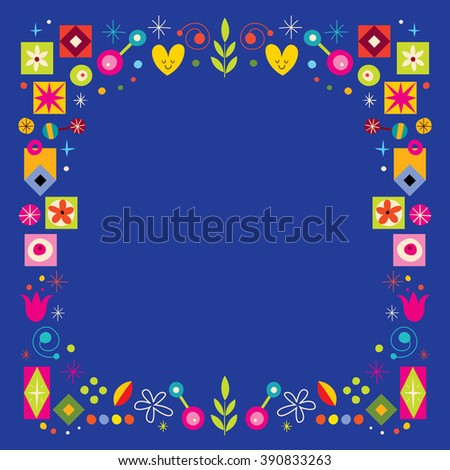retro nature abstract art frame decorative border background - stock vector