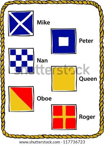 Retro Nautical Alphabet Flags M - R Vector Illustration - stock vector