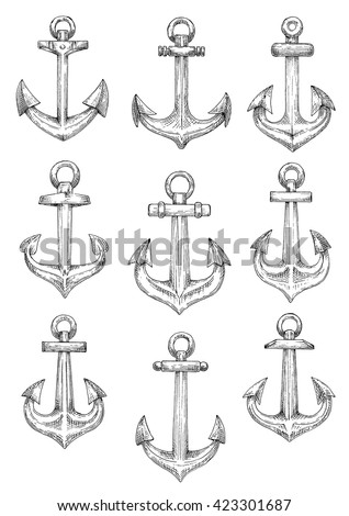 Retro nautical heraldic symbols of sketched admiralty pattern anchors with arrow shaped flukes and large chain rings. Use as naval badge or sailing club design - stock vector