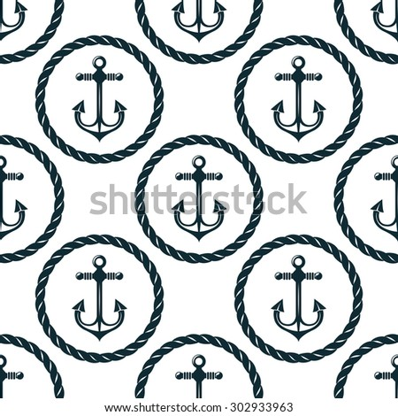 Retro nautical seamless pattern with anchors in circular rope frames on white background,  for marine background or textile design - stock vector