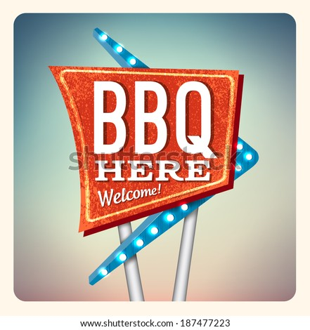 Retro Neon Sign BBQ lettering  in the style of American roadside advertising vintage style 1950s - stock vector