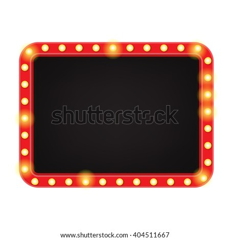 Retro Neon Sign. Vintage Billboard with Place for Text. Isolated on White Background. Vector Illustrator. - stock vector
