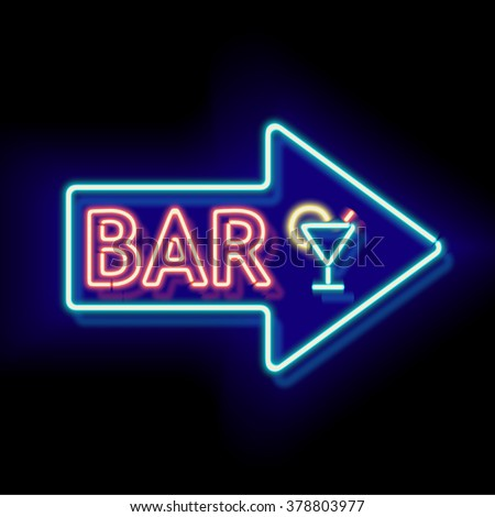 Retro neon sign with the word bar. Vintage electric arrow symbol. Burning a pointer to a black wall in a club, bar or cafe. Design element for your ad, signs, posters, banners. Vector illustration - stock vector