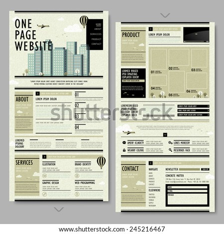 retro newspaper style one page website design  - stock vector