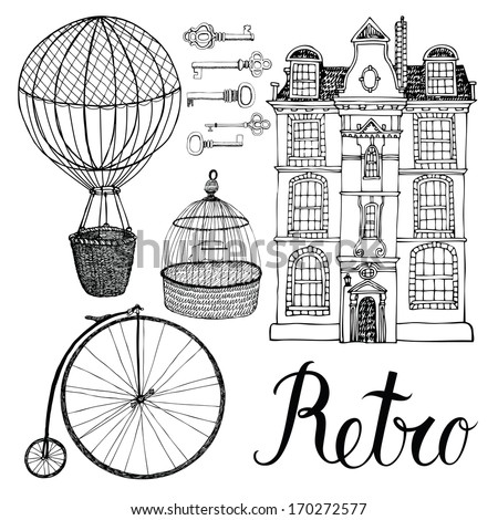 Retro objects, house and transport. Hand drawing and calligraphy - stock vector