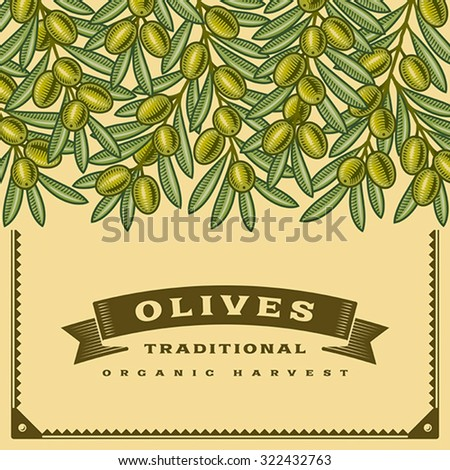 Retro olive harvest card. Editable vector illustration with clipping mask. - stock vector