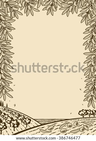Retro olive vertical brown frame. Editable vector illustration with clipping mask. - stock vector