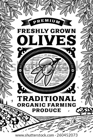 Retro olives poster black and white. Fully editable vector illustration with clipping mask. - stock vector