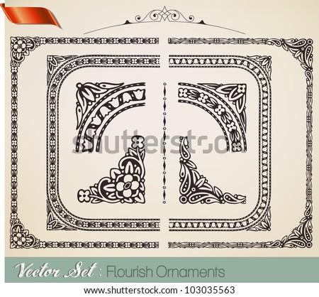 Retro ornaments - stock vector