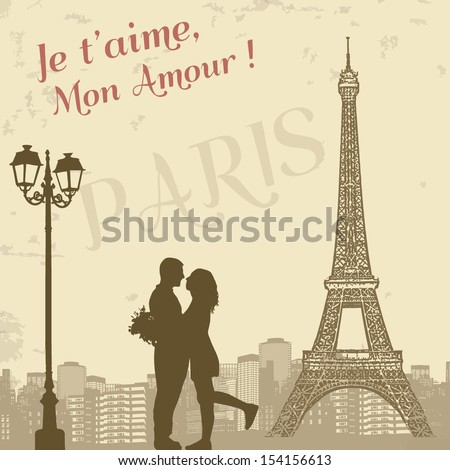 Retro Paris grunge poster with lovers and city scape, vector illustration - stock vector