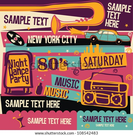 Retro Party Background - stock vector